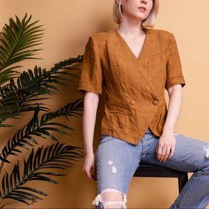 Vintage 80s rust brown minimalist linen blazer top